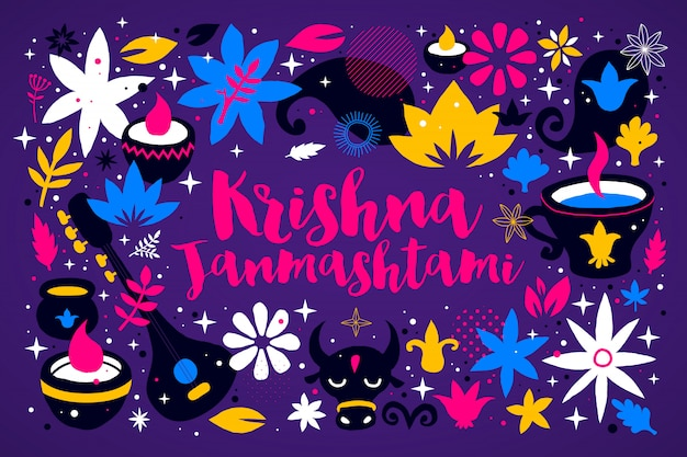 Modello di disegno di krishna janmashtami con elementi colorati astratti su fondo viola intenso