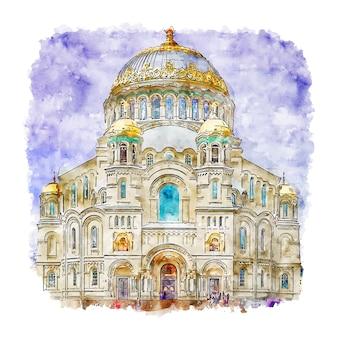 Illustrazione disegnata a mano di schizzo dell'acquerello della cattedrale navale di kronstadt