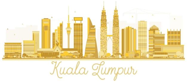 Siluetta dorata dell'orizzonte della città di kuala lumpur malesia. illustrazione vettoriale. kuala lumpur cityscape con punti di riferimento.