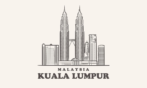 Schizzo disegnato malesia skyline di kuala lumpur