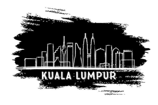 Sagoma dell'orizzonte di kuala lumpur. schizzo disegnato a mano. illustrazione di vettore. viaggi d'affari e concetto di turismo con architettura moderna. immagine per presentazione banner cartellone e sito web.