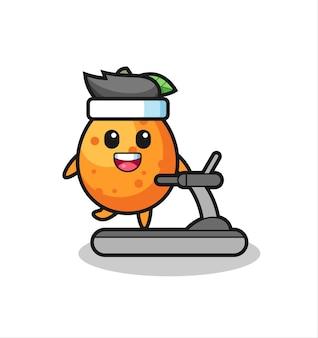 Personaggio dei cartoni animati kumquat che cammina sul tapis roulant, design in stile carino per maglietta, adesivo, elemento logo