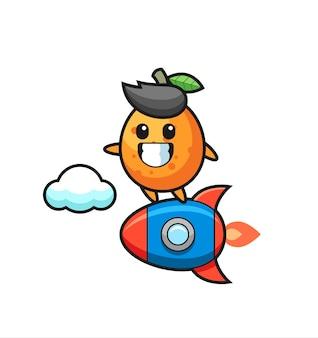 Personaggio mascotte kumquat in sella a un razzo, design in stile carino per maglietta, adesivo, elemento logo