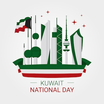Giornata nazionale di design piatto di kuwait city