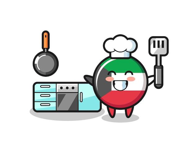 Illustrazione del personaggio del distintivo della bandiera del kuwait mentre uno chef sta cucinando, design carino