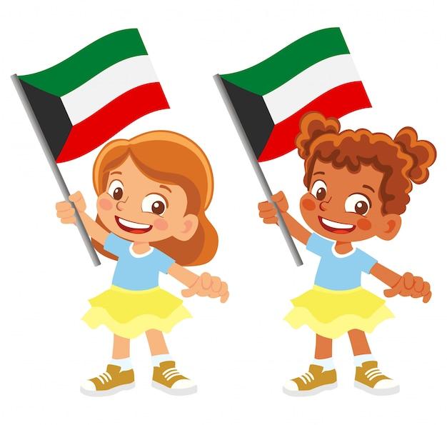 Bandiera del kuwait in mano impostata