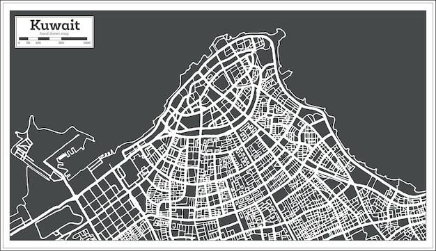 Mappa del kuwait in stile retrò. illustrazione di vettore. mappa di contorno.