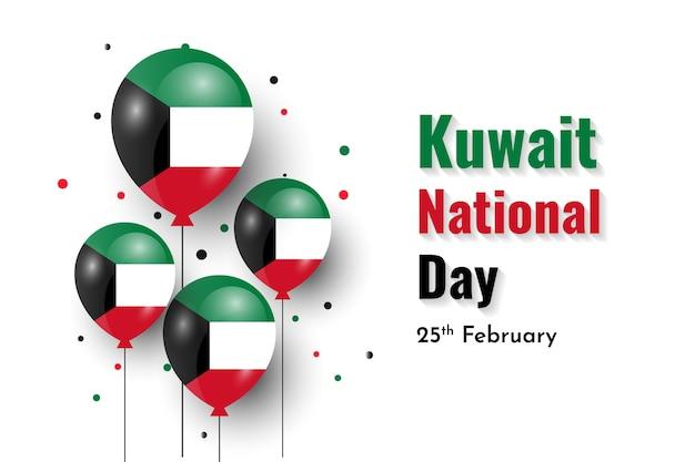 Giornata nazionale del kuwait con sfondo a palloncino