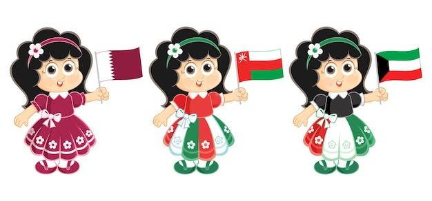 Celebrazione della festa nazionale del kuwait oman e del qatar