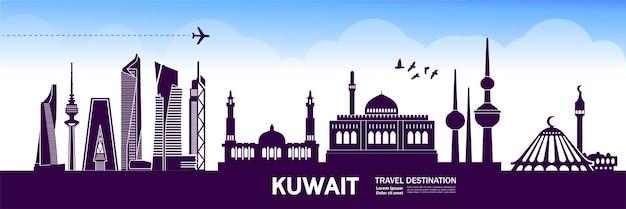 Illustrazione della destinazione di viaggio del kuwait.
