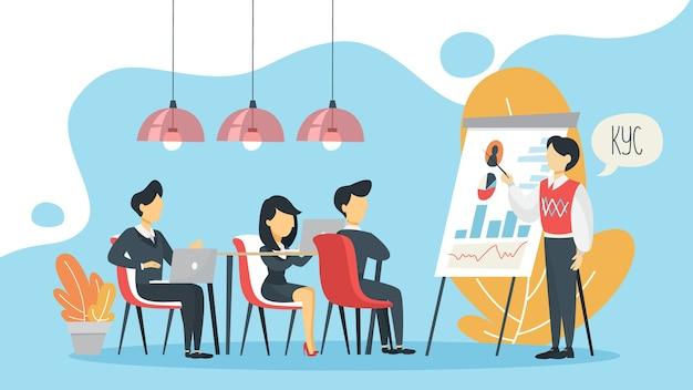 Kyc o conosci il tuo concetto di cliente. idea di identificazione aziendale e sicurezza finanziaria. l'uomo fa la presentazione. crimine informatico. illustrazione piatta isolata