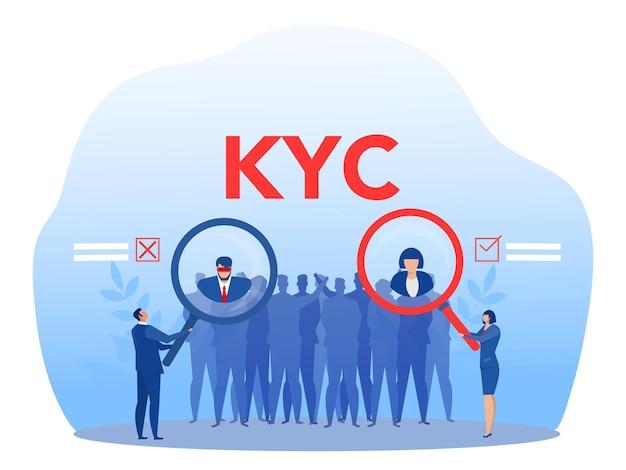 Kyc o conosci il tuo cliente con un criminale attraverso un illustratore vettoriale di lente d'ingrandimento