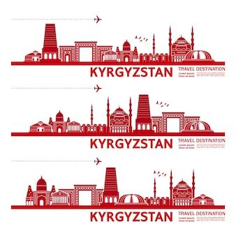 Illustrazione della destinazione di viaggio del kirghizistan.