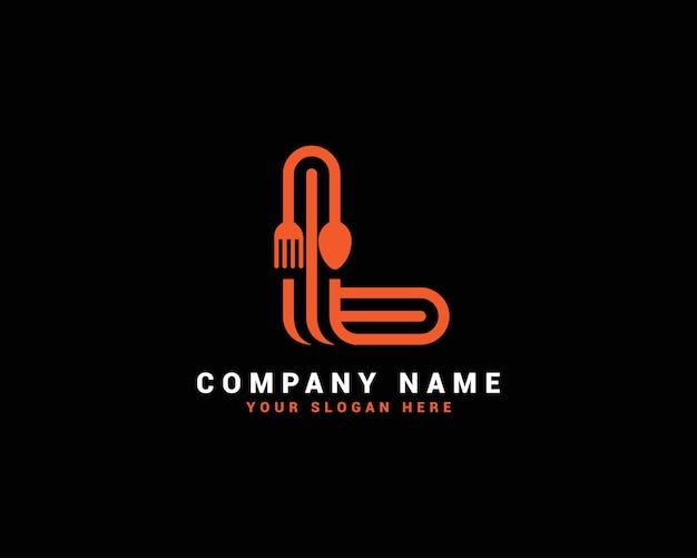 L logo della lettera di cibo, l logo della lettera del cucchiaio, set di logo della lettera di cibo, alfabeto del cibo