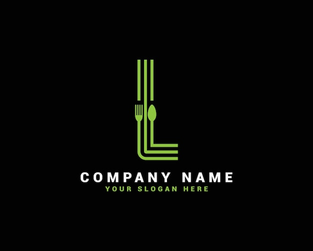 Logo lettera l, logo lettera l cibo, logo lettera l cucchiaio