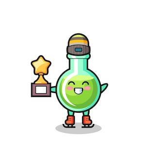 Cartone animato di bicchieri da laboratorio come un giocatore di pattinaggio sul ghiaccio con trofeo vincitore, design in stile carino per t-shirt, adesivo, elemento logo