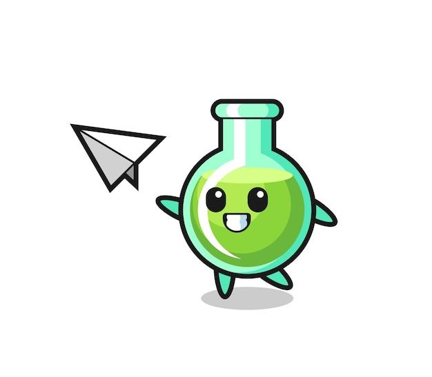 Bicchiere da laboratorio personaggio dei cartoni animati che lancia aeroplano di carta, design in stile carino per maglietta, adesivo, elemento logo