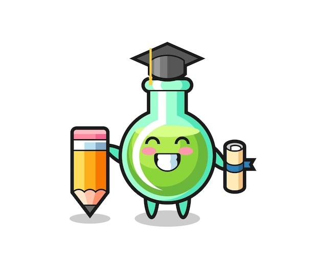 Il fumetto dell'illustrazione dei bicchieri da laboratorio è la laurea con una matita gigante, un design in stile carino per maglietta, adesivo, elemento logo