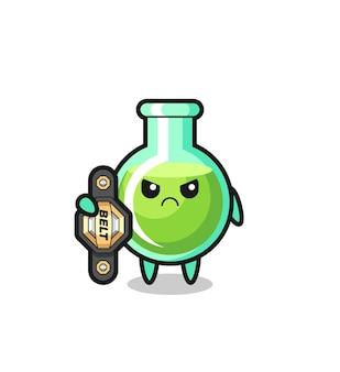 Personaggio mascotte dei bicchieri da laboratorio come combattente mma con la cintura del campione, design in stile carino per t-shirt, adesivo, elemento logo