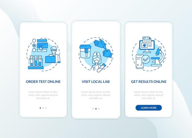 Procedura di ordinazione dei test di laboratorio per l'onboarding della schermata della pagina dell'app mobile con concetti