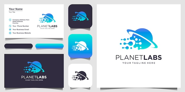 Modello di disegni di logo del mondo di laboratorio