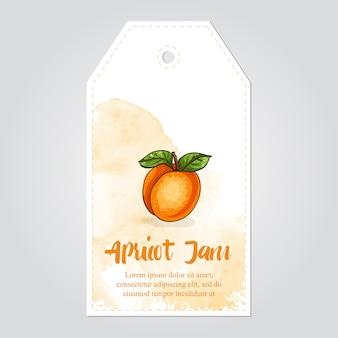 Etichetta di marmellata di albicocche con sfondo acquerello e bordo colorato