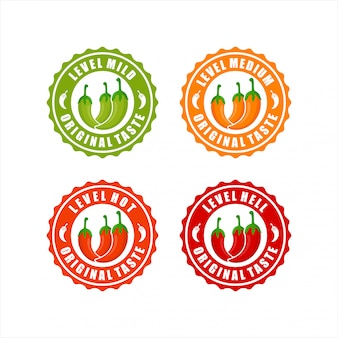Collezione chili peppers level design logo collection
