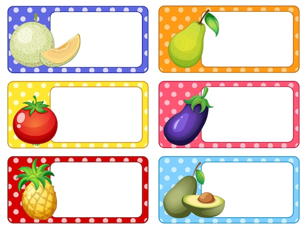 Disegno di etichetta con illustrazione di frutta e verdura