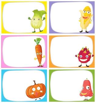 Design dell'etichetta con verdure e frutta