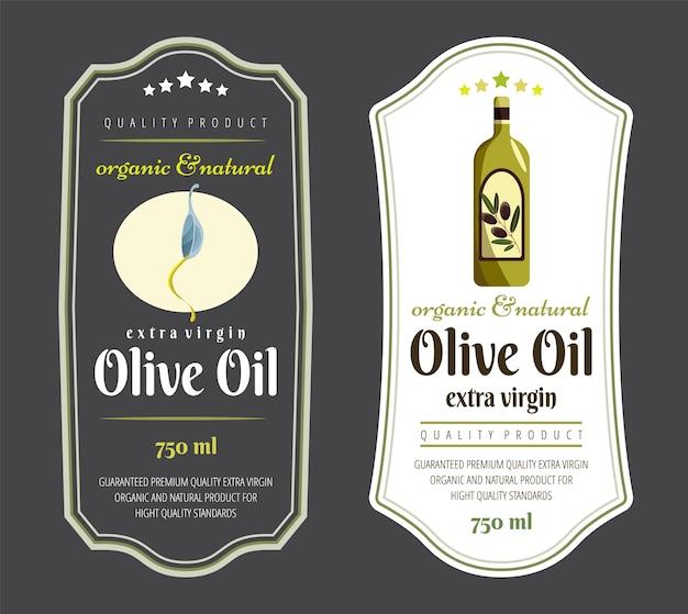 Elementi dell'etichetta per l'olio d'oliva. elegante etichetta scura e chiara per confezioni di olio d'oliva premium.