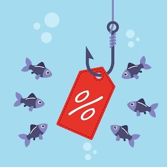 Etichetta sull'amo da pesca