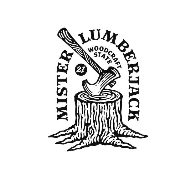 Etichetta illustrazione del ceppo di albero con ascia in doodle vintage