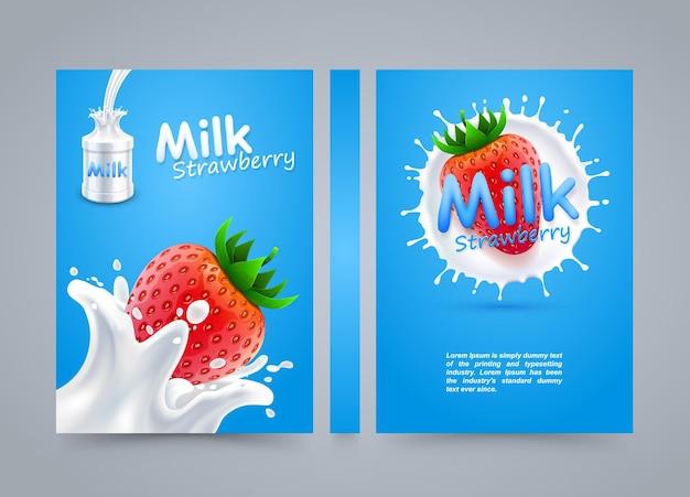 Etichetta copertina fragola latte, banner latte spruzzi, illustrazione vettoriale