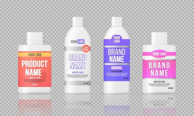Etichettare le bottiglie di plastica, design del modello di pacchetto.