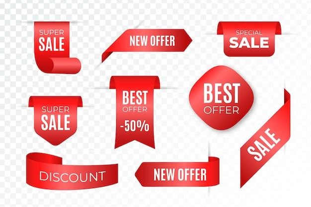 Etichetta le vendite nella collezione di forme diverse