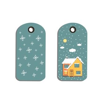 Distintivo dell'etichetta dell'etichetta con i fiocchi di neve bianchi della casa di inverno del fondo di natale vacanze di capodanno i
