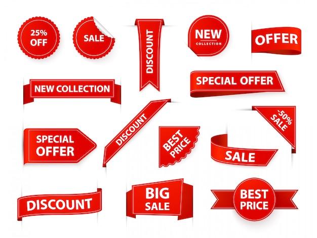 Etichette per etichette. tag nastro prezzo realistico, bandiere rosse del mercato, vendita al dettaglio e marketing migliori etichette ed adesivi. insieme dell'illustrazione del modello dell'autoadesivo di vendite di acquisto. vendita d'angolo nuovi elementi di prodotto