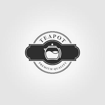 Etichetta del logo della teiera vintage vector illustration design
