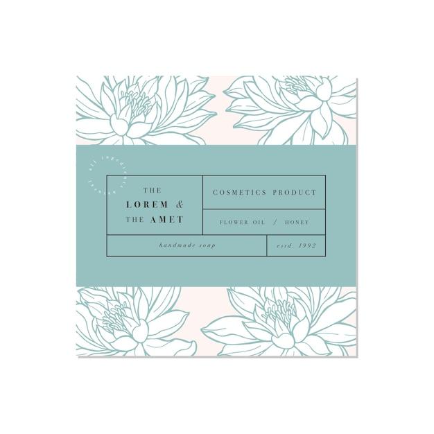 Modello di etichetta design. fiori di loto.