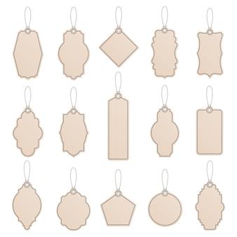 Modello di etichetta. etichette di etichette di carta vintage, cartellini dei prezzi artigianali, modelli di etichette artigianali negozio, set di icone di modelli di produzione di promozione. etichetta di caduta dell'illustrazione per il prezzo realistico con la corda
