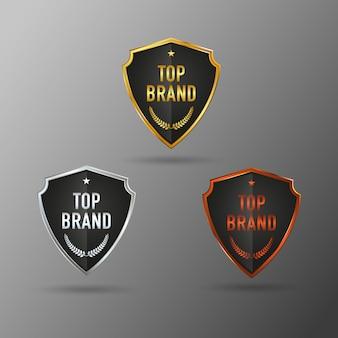 Etichetta top brand color oro argento marrone