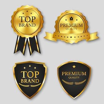 Etichetta del marchio superiore con colore oro