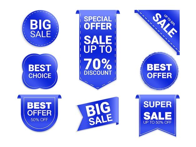 Etichette isolate su sfondo bianco. promozione della vendita, adesivi del sito web, nuova collezione di badge di offerta. sconto e tag piatti distintivi. tag di scelta migliore.
