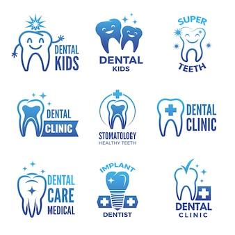 Set di etichette e loghi di tema dentale e illustrazioni di denti sani.