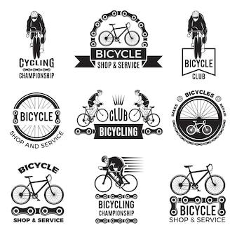 Etichette per club di biciclette. velo logo design sportivo