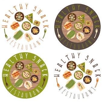 Set di etichette per ristorante di cibo sano