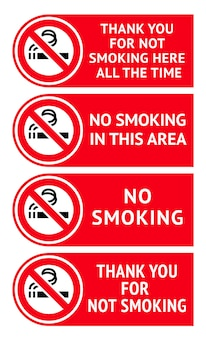 Set di etichette non fumatori adesivi
