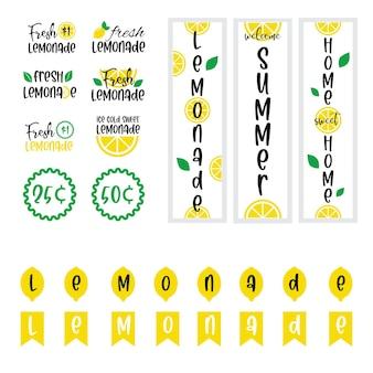 Etichette e segni di limonata fresca con limone. illustrazioni vettoriali per grafica e web design, per stand, ristorante e bar, menù.