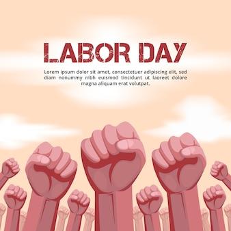 Fondo della festa del lavoro con l'illustrazione delle mani alzate
