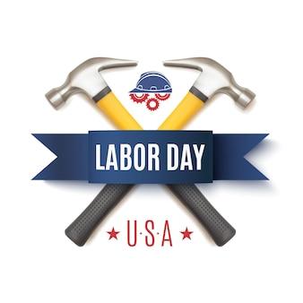Distintivo del labor day con due hummer, casco dei lavoratori e ingranaggi, isolati